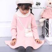 小童粉色兔子珍珠裙擺 刷毛 洋裝 長版T [85218] RQ POLO 秋冬童裝