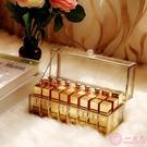 化妝品收納盒歐式金色玻璃24格口紅收納盒創意桌面收納盒有蓋防塵銅邊