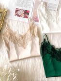睫毛蕾絲吊帶背心女夏西裝內搭真絲美背打底外穿絲綢緞面上衣薄款