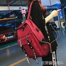 帆布雙肩包男歐美風大學高中學生書包女校園旅行背包外置USB充電 年前鉅惠