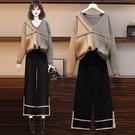 套裝兩件式L-4XL大碼女裝冬季新款微胖...