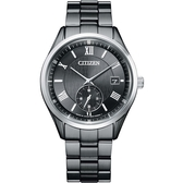 CITIZEN星辰 菱紋潮黑時尚光動能手錶 BV1125-97H
