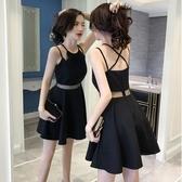 洋裝 新品女裝夏季收腰顯瘦修身短款小黑裙法國小眾洋裝吊帶裙子 快速出貨