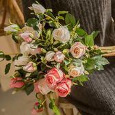 美式高仿真花玫瑰花束客廳家居擺設餐桌假花擺件插花室內裝飾花藝