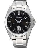 SEIKO 大日期視窗百米腕錶-黑/銀 6N76-00A0D