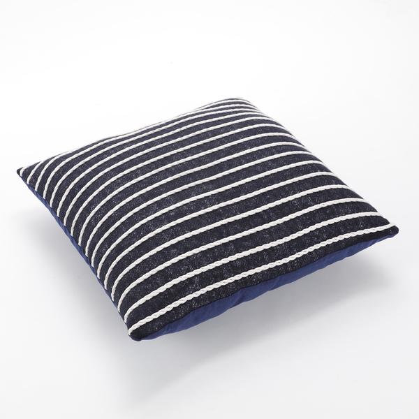 編織滾線抱枕套45x45cm 藍