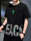 男士短袖2021夏季新款寬松時尚百搭T恤韓版INS潮牌印花半袖男上衣 傑森型男館