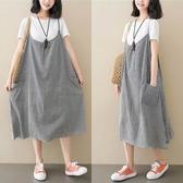 格紋顯瘦雙口袋吊帶洋裝-大尺碼 獨具衣格 J3082