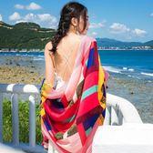 紗巾絲巾女士長款夏季防曬披肩沙灘巾圍巾防紫外線薄款多功能百搭   初見居家