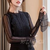 蕾絲衫 長袖襯衫 韓版長袖立領上衣 喇叭袖打底衫