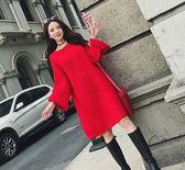 長袖洋裝 秋冬新款大碼女裝胖MM毛衣女套頭純色寬鬆中長款連身裙【歐亞時尚】