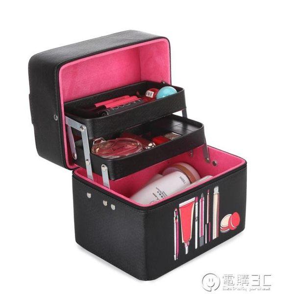 大容量化妝包簡約便攜小號韓國多層洗漱品收納盒多功能化妝箱手提   電購3C