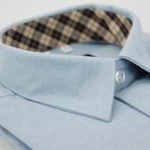 【金‧安德森】經典格紋繞領藍色厚棉長袖襯衫