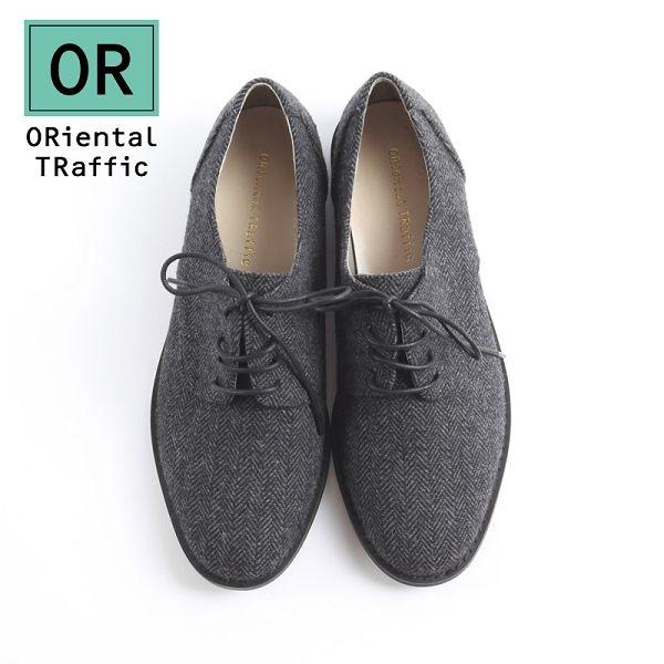 【ORiental TRaffic】率性洗鍊德比牛津綁帶鞋-洗鍊灰