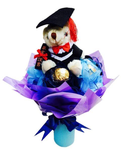 娃娃屋樂園~精緻畢業小熊+4入金莎.迷你花束 每束320元/可以站的花束/畢業花束