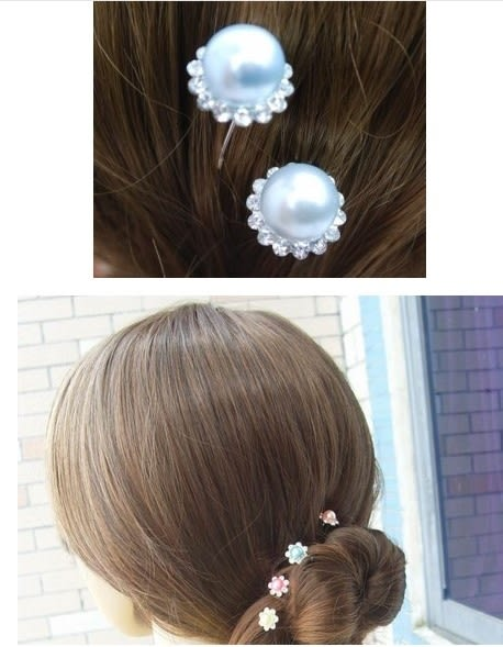 [協貿國際] 新娘珍珠鑲鑽花朵髮簪 (20個價)