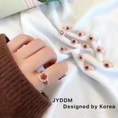 韓國東大門進口1990跳動的心女鋯石轉運愛心水晶戒指開口調節指環 沸點奇跡