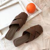 網紅拖鞋女夏外穿港味涼拖鞋時尚社會平底鞋百搭半拖鞋女包頭