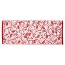小禮堂 Hello Kitty 抗菌浴巾 45x110cm (紅滿版款) 4550337-80081