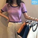 【V9266】shiny藍格子-甜心蔓延.撞色短版修身短袖針織上衣