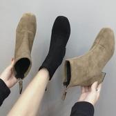 2020秋冬新款chic馬丁靴女中跟粗跟后拉鏈短靴百搭瘦瘦彈力襪子靴‧衣雅