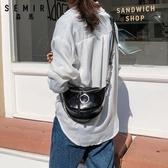 雙11休閒側背包斜背包女新款時尚潮流pu側背包寬肩帶鍊條休閒百搭ins風胸包