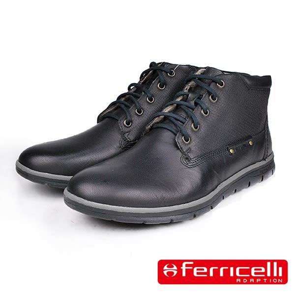 【ferricelli】Koleos網孔壓紋高級男仕休閒短靴  黑色(F51200-BL)