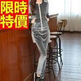 長袖運動服套裝(褲裝)-天鵝絨連帽奢華甜美戶外女休閒服3色59w35【時尚巴黎】
