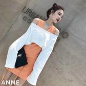 2018春季新款女裝一字領露肩上衣背心連身裙兩件套韓版時尚套裝潮  巴黎街頭