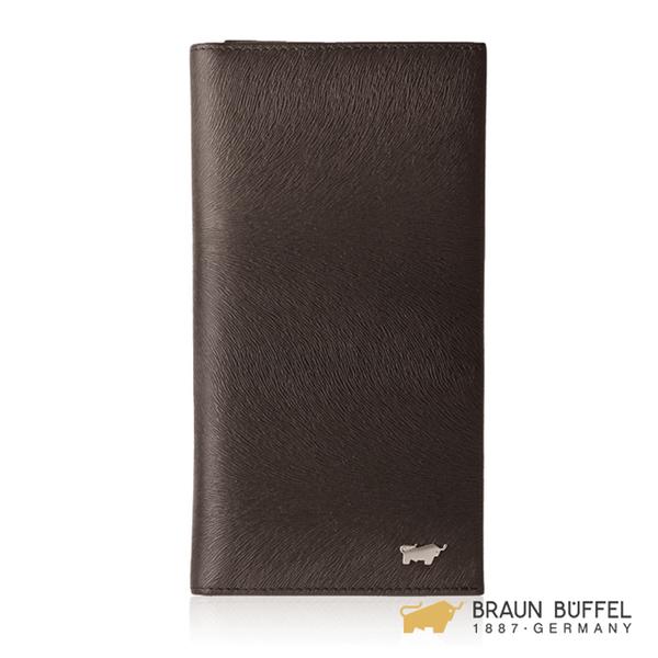 【BRAUN BUFFEL】提貝里烏斯-II系列17卡拉鍊零錢袋長夾 -咖啡色 BF348-631-ENY