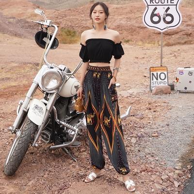 春夏季新品泰國高腰民族風女子大襠燈籠寬松闊腿褲瑜伽褲T458紅粉佳人