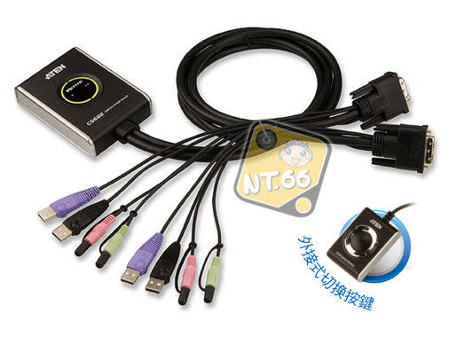 ATEN CS682 2埠USB 2.0 DVI KVM 多電腦切換器CS62DU 升級版 支援MAC及Sun Server
