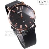 LOVME 羅馬風格品味 藍寶石抗磨水晶玻璃 米蘭帶 不銹鋼 IP黑電鍍 女錶 男錶 中性錶 VM3012B-43-341