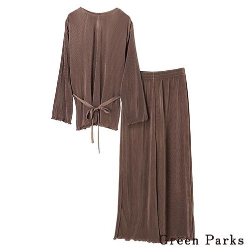 「Hot item」【SET ITEM】細緻條紋綁帶上衣+褶邊下擺寬褲 - Green Parks