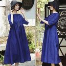 洋裝-寶石藍訂製色織絲麻長裙/設計家 Q8474
