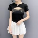 低胸上衣 性感上衣女裝夏季新款修身顯瘦時尚洋氣流蘇鏤空低胸短袖T恤小衫