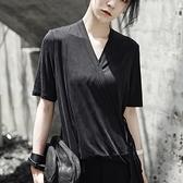 短袖T恤-中長款冰涼絲滑和服綁帶設計純色女上衣73sl30[巴黎精品]