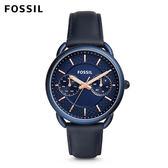 ↖400折價券 現領現折↘ FOSSIL Tailor 藍色多功能皮革手錶 女