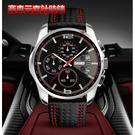【美國熊】賽車風格 SKMEI 真三眼計時跑秒功能 真皮錶帶 深度防水 時尚運動風格腕錶 附盒 [MEI-1064]
