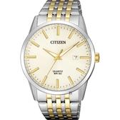 CITIZEN 星辰 經典簡約石英錶-淡金x雙色版/39mm BI5006-81P