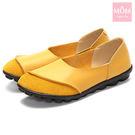 異材質拼接純色小圓頭舒適真皮樂福鞋 黃 ...