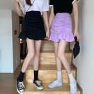 魚尾裙 褶皺魚尾裙半身裙紫色高腰短裙女夏季a字包臀荷葉邊裙子-Ballet朵朵