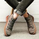 冬季英倫潮男靴子男士休閒短靴韓版皮靴魔術貼中高幫男鞋工裝軍靴 雲雨尚品