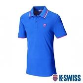 K-SWISS Ks Jacquard Yoke Polo短袖POLO衫-男-藍