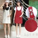 2021春夏新款紅色牛仔背帶裙女學生修身百搭半身裙中款韓版寬鬆潮 小時光生活館