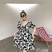 2020夏季新款復古韓版碎花泡泡袖v領法國小眾露背連衣裙子小個子 好樂匯