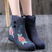 新款秋冬老北京布鞋女時尚民族風繡花鞋內增高跟短靴古風單靴 週年慶降價