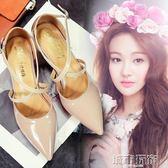 新款涼鞋女鞋中跟尖頭一字式扣帶3-4-5-6-7cm公分厘米高跟鞋細跟 城市玩家
