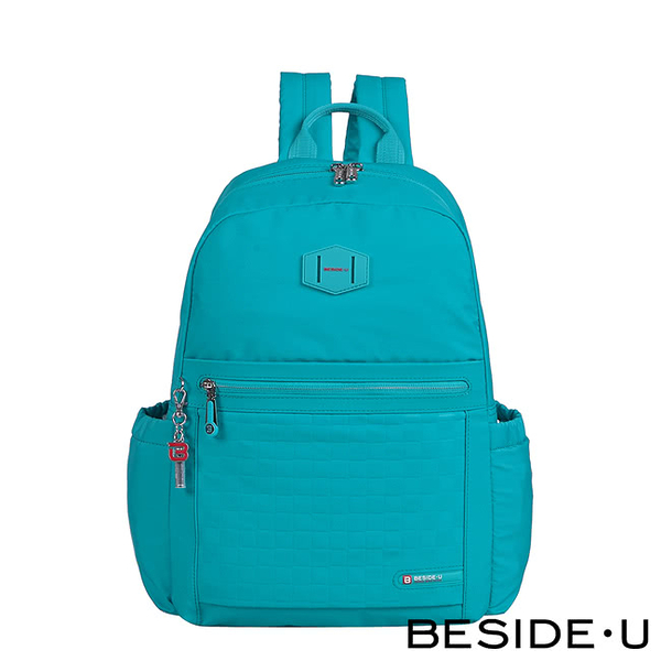 【BESIDE-U】 TUBE CONNECTION CHECKERED系列學院風棋盤格紋後背包 - 勁藍色