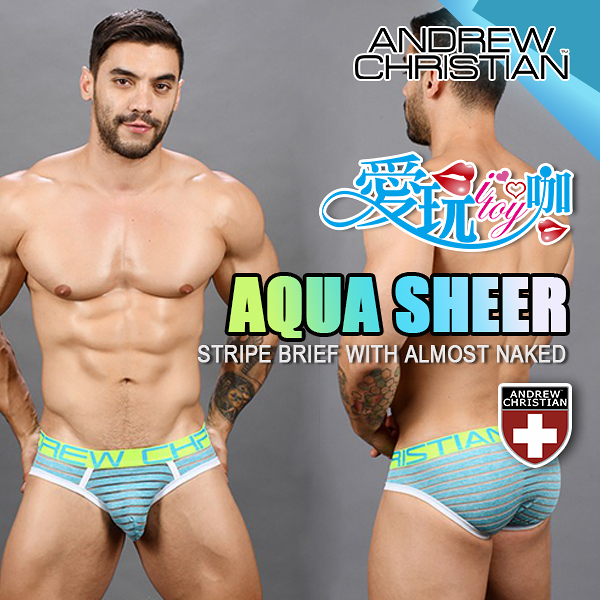 美國 ANDREW CHRISTIAN 水波藍輕薄條紋三角內褲 AQUA SHEER STRIPE BIEF WITH ALMOST NAKED